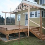 Finished decking, setting the trusses. We customized the stair tread due to the owner's health needs to make a smaller step with a longer travel so he could easily get in and out.