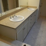 New cabinets, new countertops, sinks reinstalled