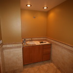 Thomasville cabinets, recessed lights and sink installed