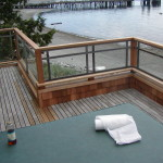 Finished deck with glass partitions installed